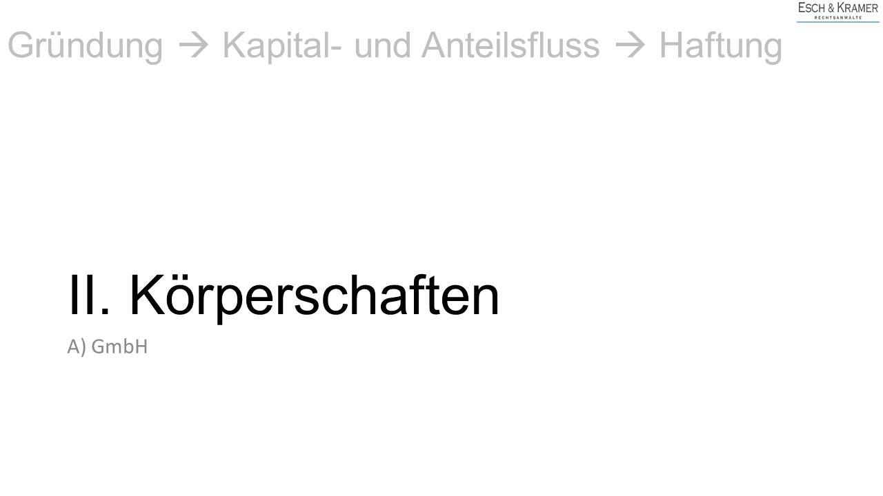 II. Körperschaften A) GmbH Gründung  Kapital- und Anteilsfluss  Haftung