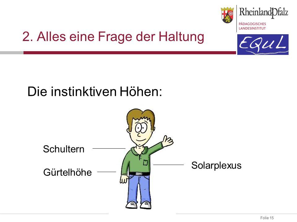 Folie 15 2. Alles eine Frage der Haltung Die instinktiven Höhen: Schultern Gürtelhöhe Solarplexus