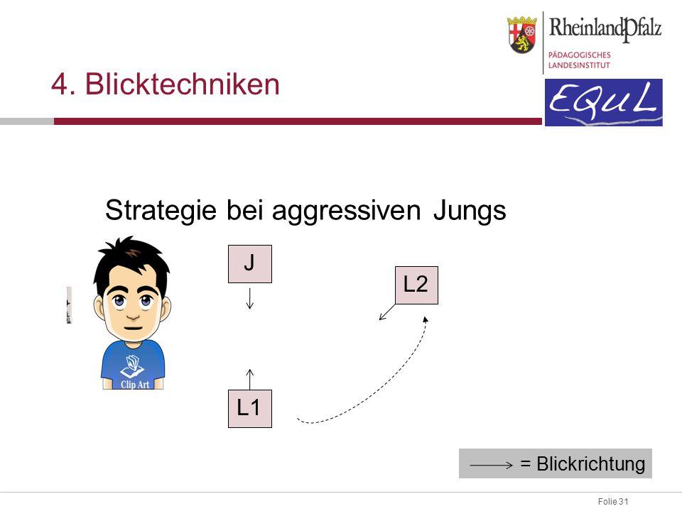 Folie 31 4. Blicktechniken Strategie bei aggressiven Jungs J L2 L1 = Blickrichtung