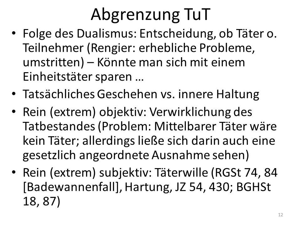 Abgrenzung TuT Folge des Dualismus: Entscheidung, ob Täter o.