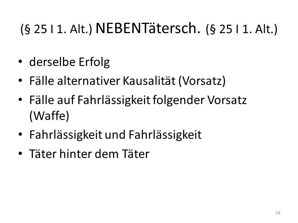 (§ 25 I 1. Alt.) NEBENTätersch. (§ 25 I 1.