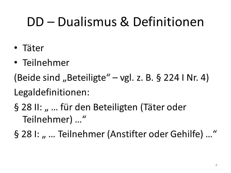 """DD – Dualismus & Definitionen Täter Teilnehmer (Beide sind """"Beteiligte – vgl."""