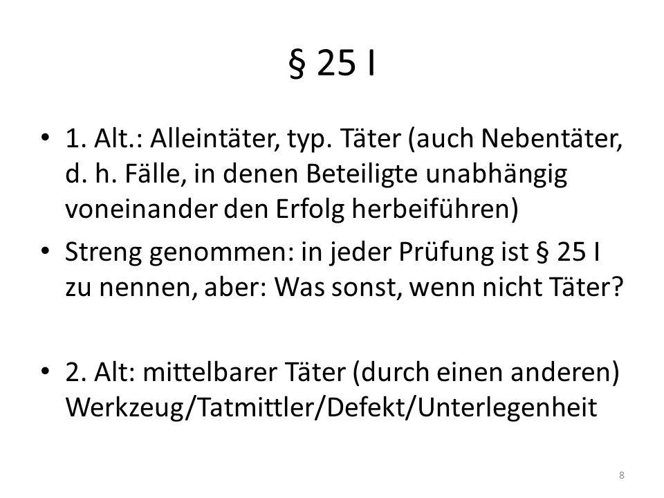 § 25 II Mittäterschaft Bewusstes und gewolltes Zusammenwirken (Definition Vorsatz?) Arbeits-, Rollenteilung Gemeinsamer Tatentschluss (vgl.