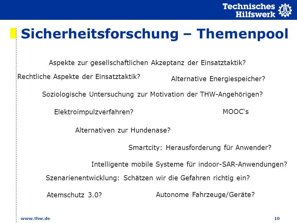 Sicherheitsforschung – Themenpool www.thw.de10 Aspekte zur gesellschaftlichen Akzeptanz der Einsatztaktik? Soziologische Untersuchung zur Motivation d