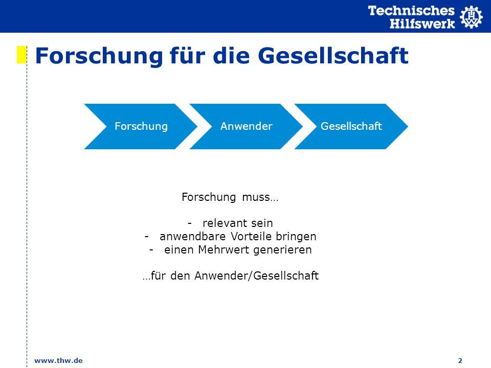 Forschung für die Gesellschaft www.thw.de2 ForschungAnwenderGesellschaft Forschung muss… -relevant sein -anwendbare Vorteile bringen -einen Mehrwert generieren …für den Anwender/Gesellschaft