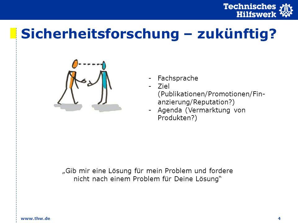 Sicherheitsforschung – zukünftig? www.thw.de4 -Fachsprache -Ziel (Publikationen/Promotionen/Fin- anzierung/Reputation?) -Agenda (Vermarktung von Produ