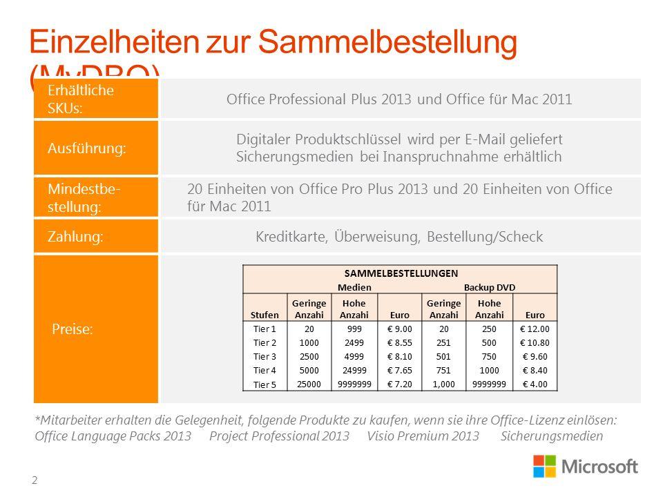 Erhältliche SKUs: Office Professional Plus 2013 und Office für Mac 2011 Ausführung: Digitaler Produktschlüssel wird per E-Mail geliefert Sicherungsmed