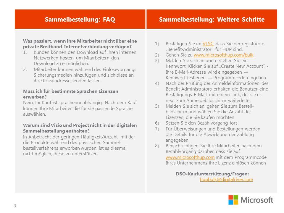 3 Sammelbestellung: FAQSammelbestellung: Weitere Schritte Was passiert, wenn Ihre Mitarbeiter nicht über eine private Breitband-Internetverbindung ver