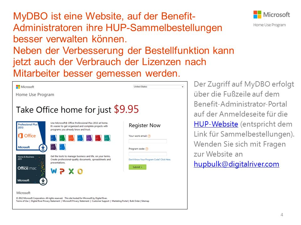 MyDBO ist eine Website, auf der Benefit- Administratoren ihre HUP-Sammelbestellungen besser verwalten können.