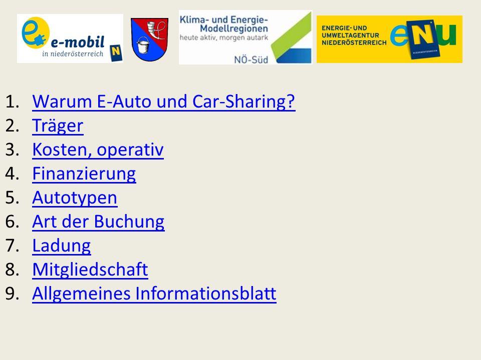 1.Warum E-Auto und Car-Sharing?Warum E-Auto und Car-Sharing? 2.TrägerTräger 3.Kosten, operativKosten, operativ 4.FinanzierungFinanzierung 5.AutotypenA