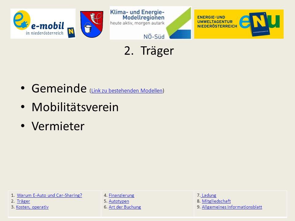 2.Träger Gemeinde (Link zu bestehenden Modellen)Link zu bestehenden Modellen Mobilitätsverein Vermieter 1. Warum E-Auto und Car-Sharing?Warum E-Auto u