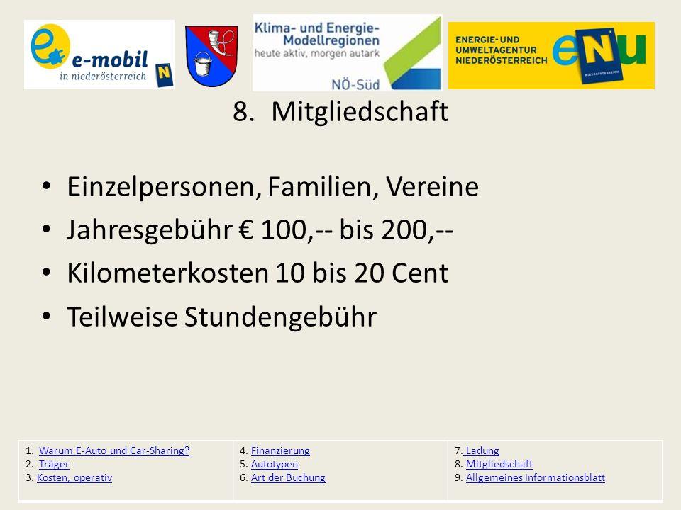 8.Mitgliedschaft Einzelpersonen, Familien, Vereine Jahresgebühr € 100,-- bis 200,-- Kilometerkosten 10 bis 20 Cent Teilweise Stundengebühr 1. Warum E-