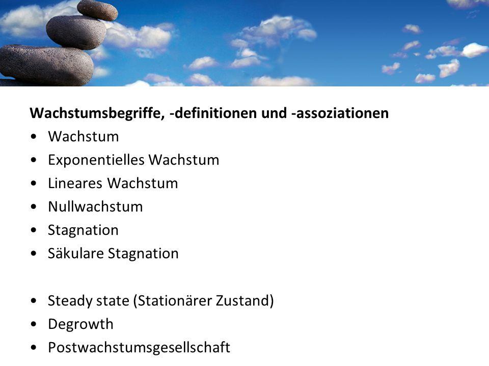 Wachstumsbegriffe, -definitionen und -assoziationen Wachstum Exponentielles Wachstum Lineares Wachstum Nullwachstum Stagnation Säkulare Stagnation Steady state (Stationärer Zustand) Degrowth Postwachstumsgesellschaft