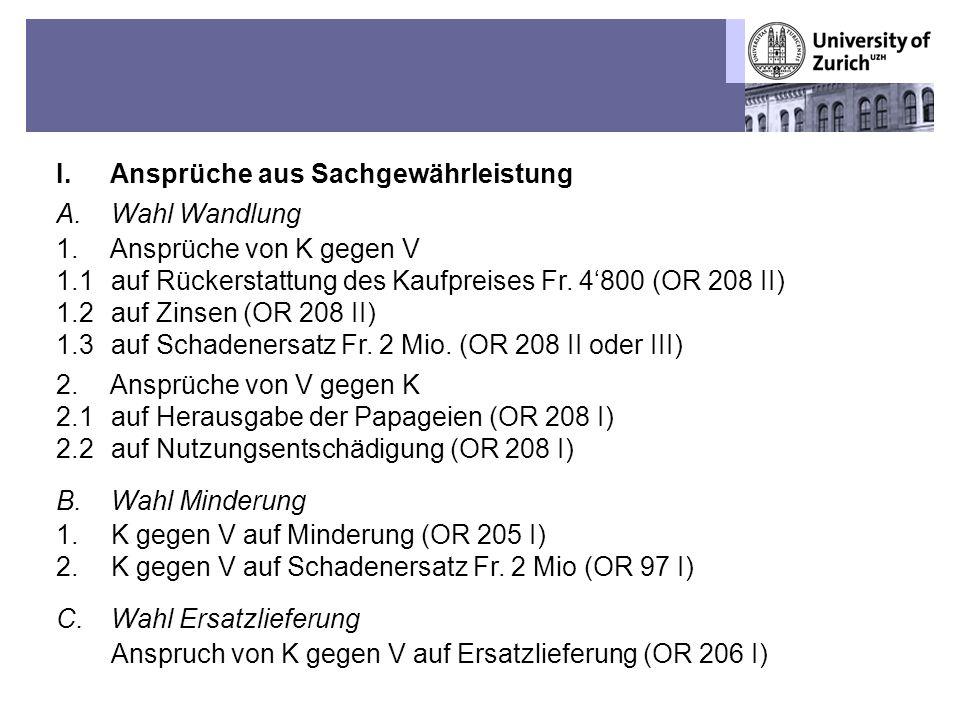 Übungen OR BT – Fall 1: Sechs Mülleramazonen-Papageien 6 I.