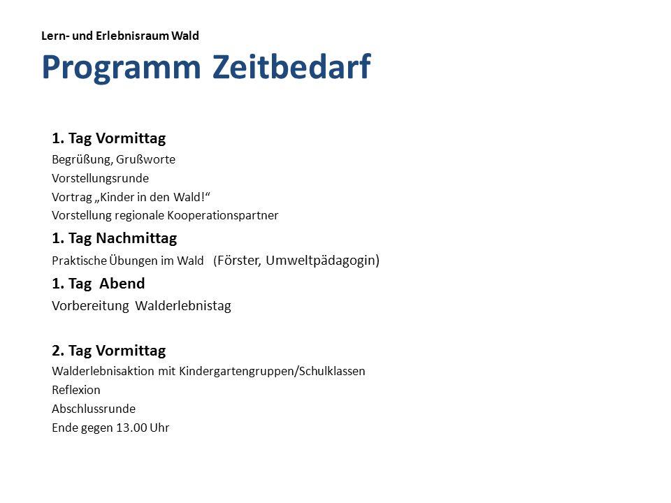 Lern- und Erlebnisraum Wald Programm Zeitbedarf 1.