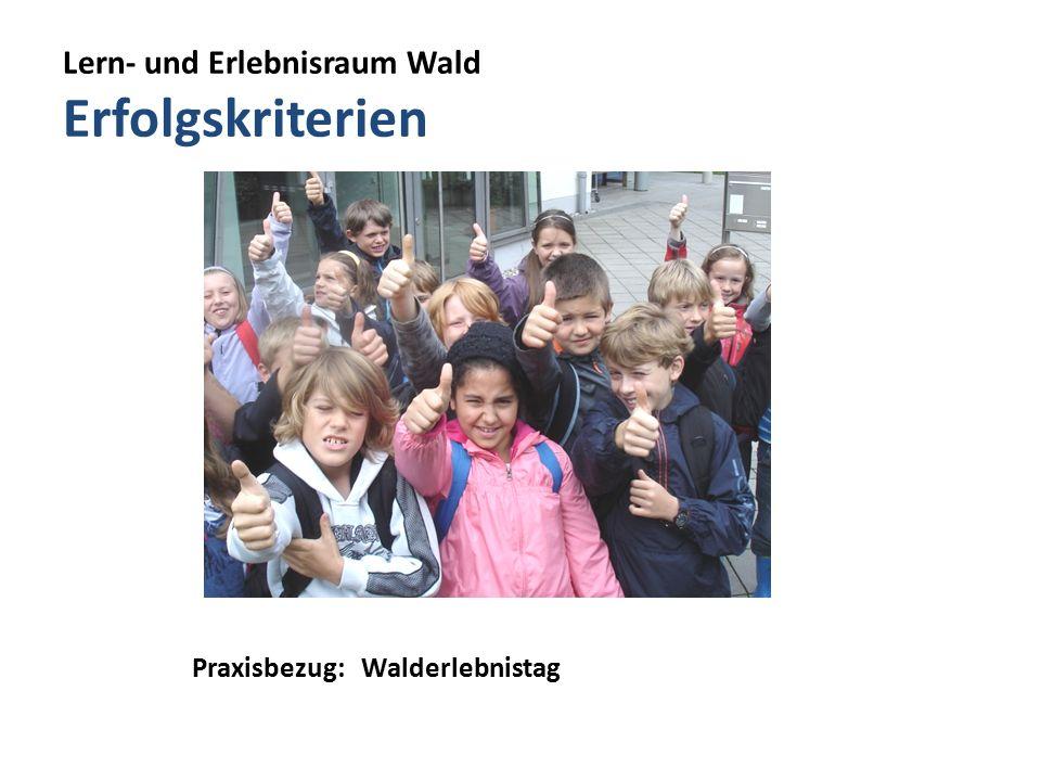 Lern- und Erlebnisraum Wald Erfolgskriterien Praxisbezug: Walderlebnistag