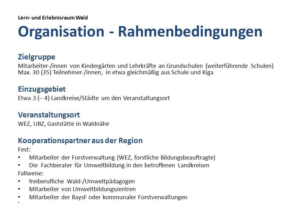Lern- und Erlebnisraum Wald Organisation - Rahmenbedingungen Zielgruppe Mitarbeiter-/innen von Kindergärten und Lehrkräfte an Grundschulen (weiterführende Schulen) Max.