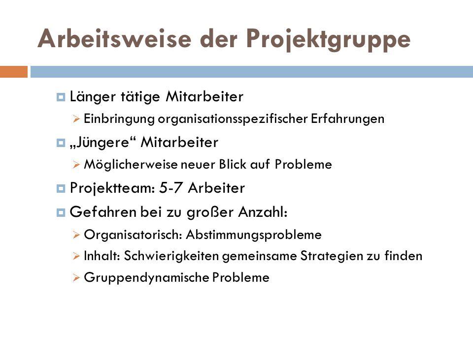 """Arbeitsweise der Projektgruppe  Länger tätige Mitarbeiter  Einbringung organisationsspezifischer Erfahrungen  """"Jüngere"""" Mitarbeiter  Möglicherweis"""