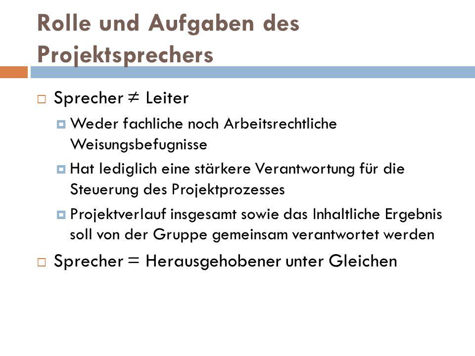 Rolle und Aufgaben des Projektsprechers  Sprecher ≠ Leiter  Weder fachliche noch Arbeitsrechtliche Weisungsbefugnisse  Hat lediglich eine stärkere