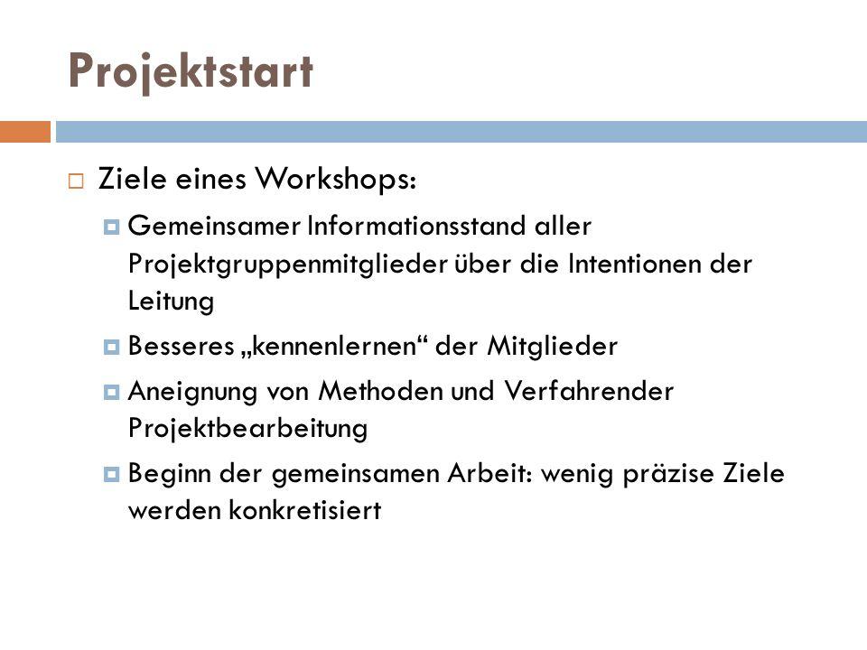 """Projektstart  Ziele eines Workshops:  Gemeinsamer Informationsstand aller Projektgruppenmitglieder über die Intentionen der Leitung  Besseres """"kenn"""