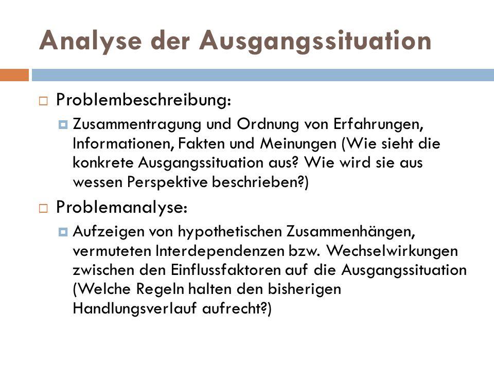 Analyse der Ausgangssituation  Problembeschreibung:  Zusammentragung und Ordnung von Erfahrungen, Informationen, Fakten und Meinungen (Wie sieht die