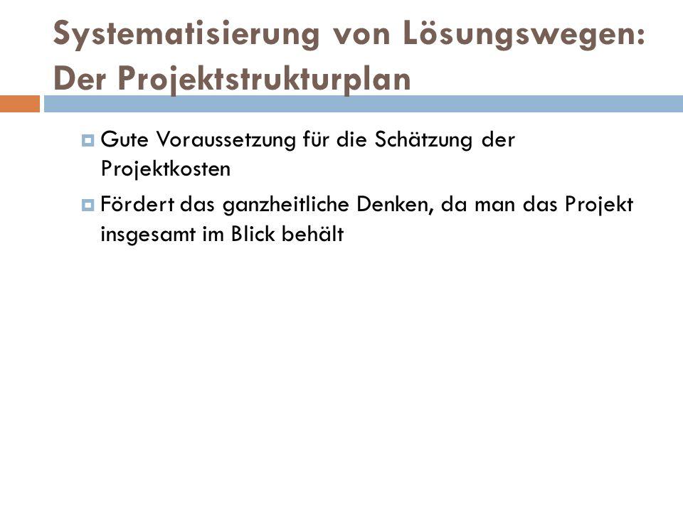 Systematisierung von Lösungswegen: Der Projektstrukturplan  Gute Voraussetzung für die Schätzung der Projektkosten  Fördert das ganzheitliche Denken