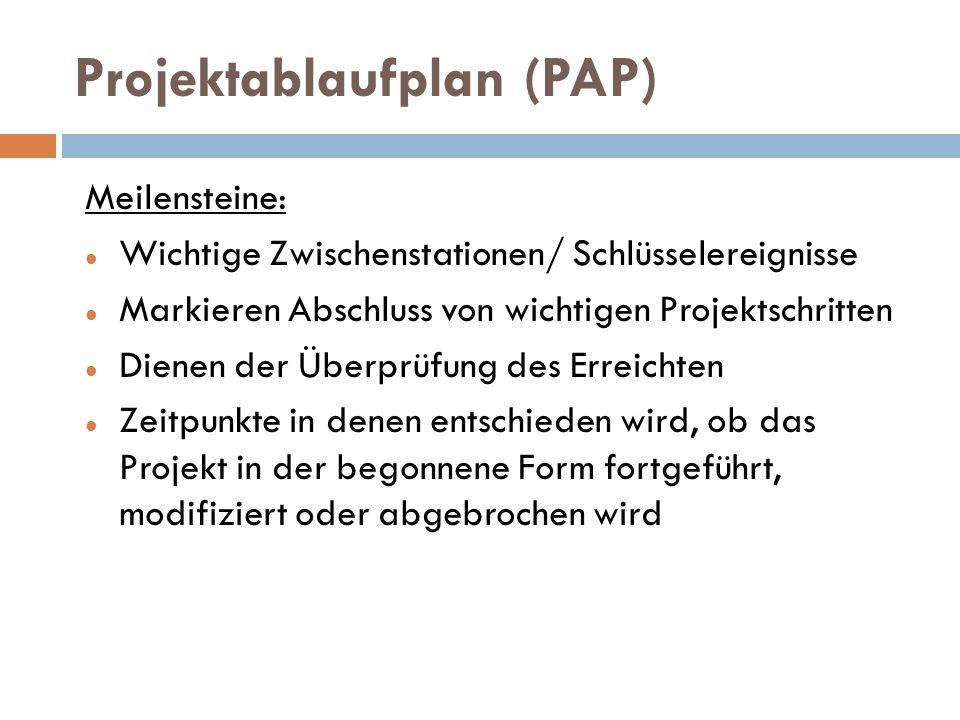 Projektablaufplan (PAP) Meilensteine: Wichtige Zwischenstationen/ Schlüsselereignisse Markieren Abschluss von wichtigen Projektschritten Dienen der Üb