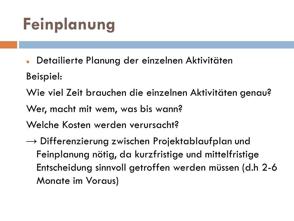 Feinplanung Detailierte Planung der einzelnen Aktivitäten Beispiel: Wie viel Zeit brauchen die einzelnen Aktivitäten genau? Wer, macht mit wem, was bi