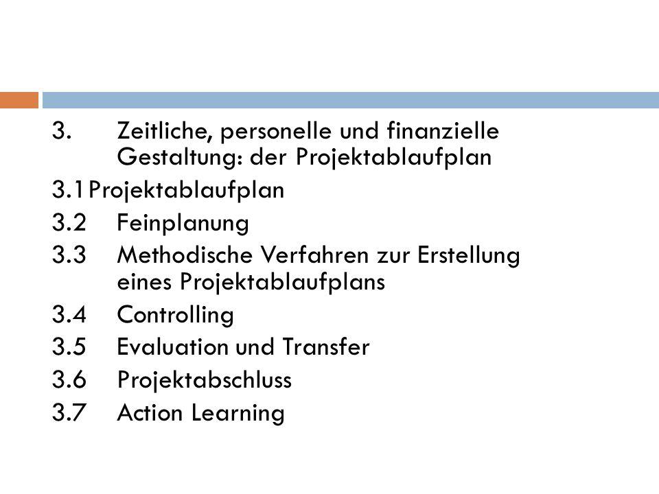 3.Zeitliche, personelle und finanzielle Gestaltung: der Projektablaufplan 3.1Projektablaufplan 3.2 Feinplanung 3.3 Methodische Verfahren zur Erstellun