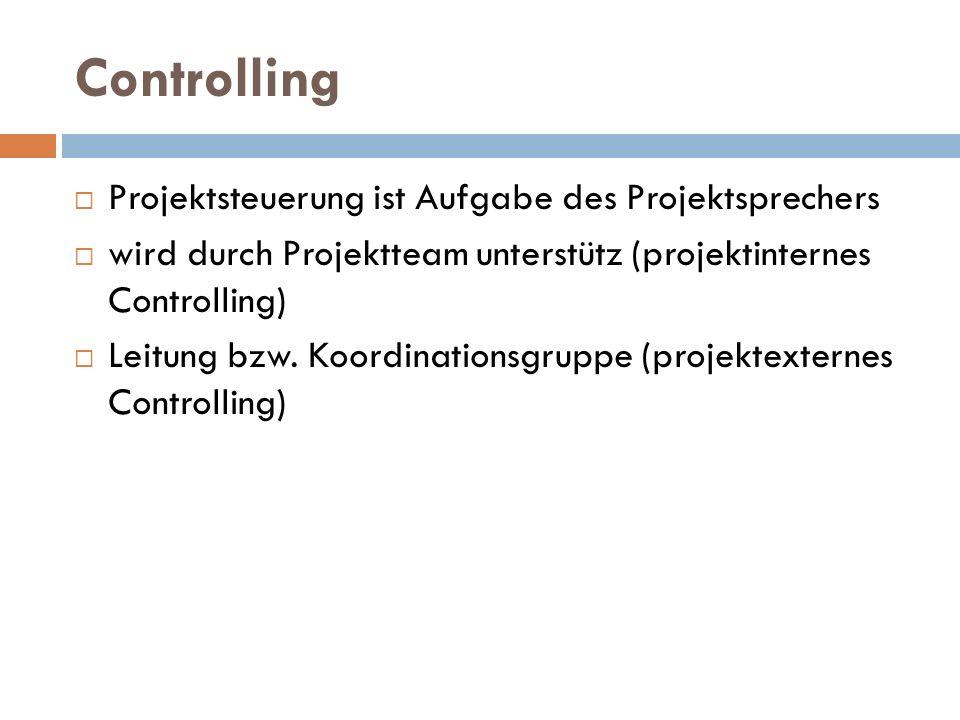 Controlling  Projektsteuerung ist Aufgabe des Projektsprechers  wird durch Projektteam unterstütz (projektinternes Controlling)  Leitung bzw. Koord
