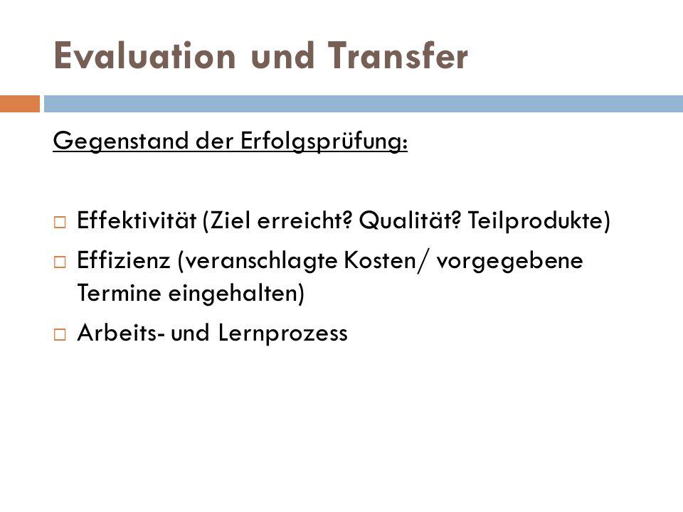 Evaluation und Transfer Gegenstand der Erfolgsprüfung:  Effektivität (Ziel erreicht? Qualität? Teilprodukte)  Effizienz (veranschlagte Kosten/ vorge