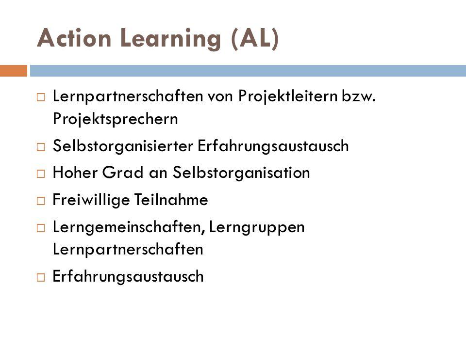 Action Learning (AL)  Lernpartnerschaften von Projektleitern bzw. Projektsprechern  Selbstorganisierter Erfahrungsaustausch  Hoher Grad an Selbstor