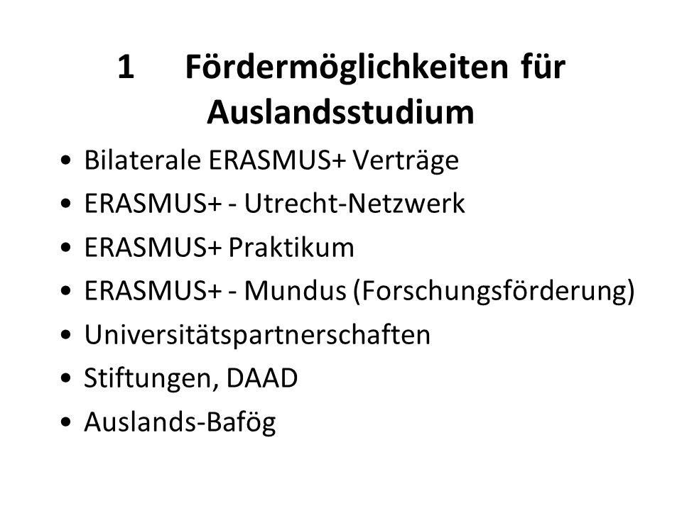 1Fördermöglichkeiten für Auslandsstudium Bilaterale ERASMUS+ Verträge ERASMUS+ - Utrecht-Netzwerk ERASMUS+ Praktikum ERASMUS+ - Mundus (Forschungsförderung) Universitätspartnerschaften Stiftungen, DAAD Auslands-Bafög
