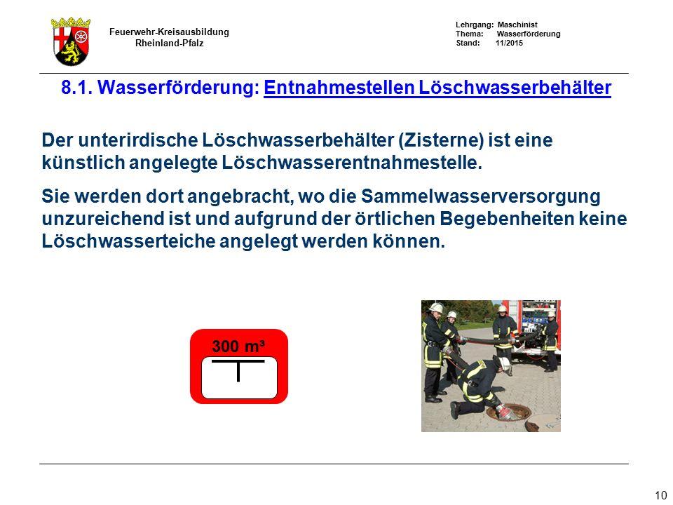 Lehrgang: Maschinist Thema: Wasserförderung Stand: 11/2015 Feuerwehr-Kreisausbildung Rheinland-Pfalz 10 8.1. Wasserförderung: Entnahmestellen Löschwas