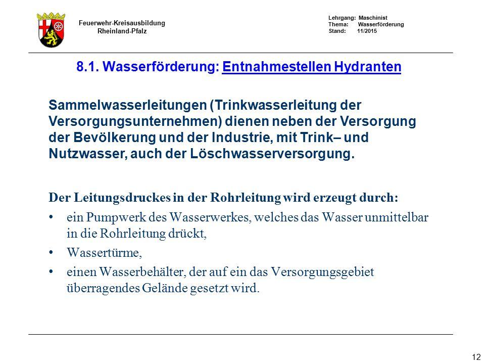 Lehrgang: Maschinist Thema: Wasserförderung Stand: 11/2015 Feuerwehr-Kreisausbildung Rheinland-Pfalz 12 Sammelwasserleitungen (Trinkwasserleitung der
