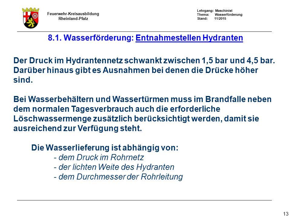 Lehrgang: Maschinist Thema: Wasserförderung Stand: 11/2015 Feuerwehr-Kreisausbildung Rheinland-Pfalz 13 Der Druck im Hydrantennetz schwankt zwischen 1