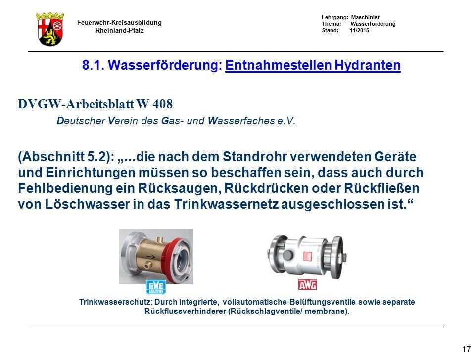 Lehrgang: Maschinist Thema: Wasserförderung Stand: 11/2015 Feuerwehr-Kreisausbildung Rheinland-Pfalz 17 8.1. Wasserförderung: Entnahmestellen Hydrante