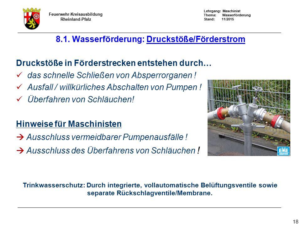 Lehrgang: Maschinist Thema: Wasserförderung Stand: 11/2015 Feuerwehr-Kreisausbildung Rheinland-Pfalz 18 Druckstöße in Förderstrecken entstehen durch…