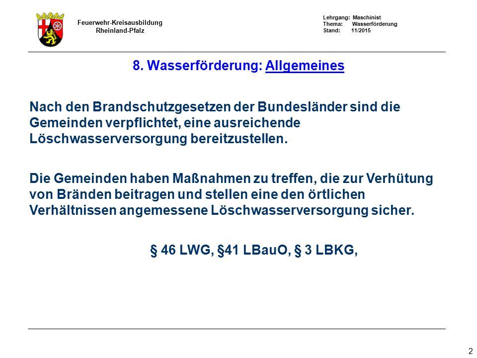 Lehrgang: Maschinist Thema: Wasserförderung Stand: 11/2015 Feuerwehr-Kreisausbildung Rheinland-Pfalz 3 Die Löschwasserversorgung Die abhängige Löschwasserversorgung Das Löschwasser wird aus einer Sammelwasserleitung, die auch die Bevölkerung und Industrie mit Trink – und Nutzwasser versorgt, entnommen.