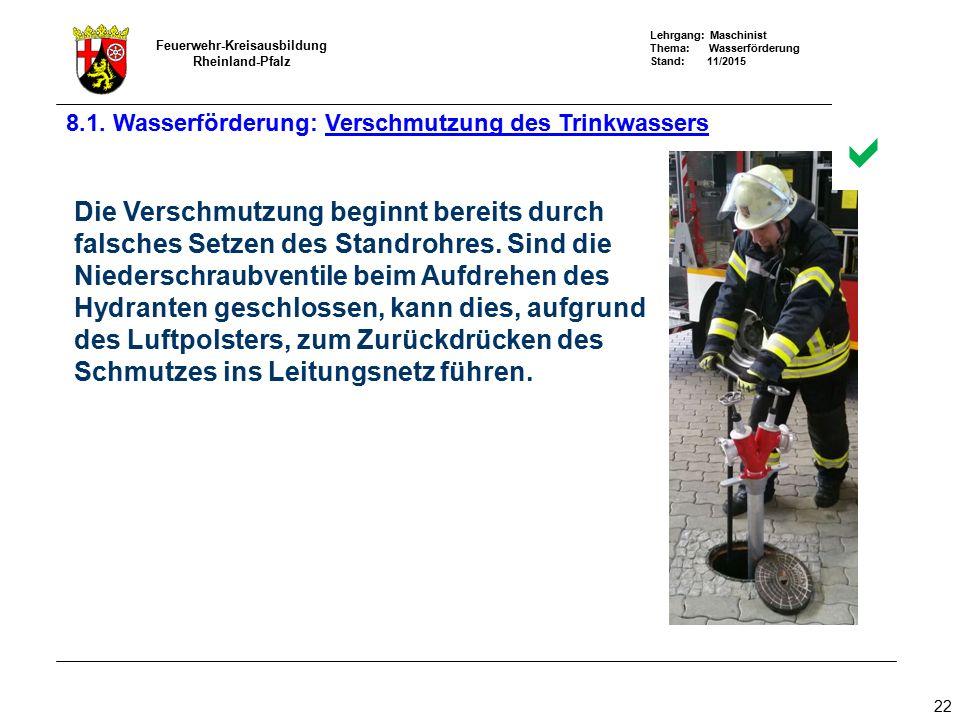 Lehrgang: Maschinist Thema: Wasserförderung Stand: 11/2015 Feuerwehr-Kreisausbildung Rheinland-Pfalz 22 Die Verschmutzung beginnt bereits durch falsch