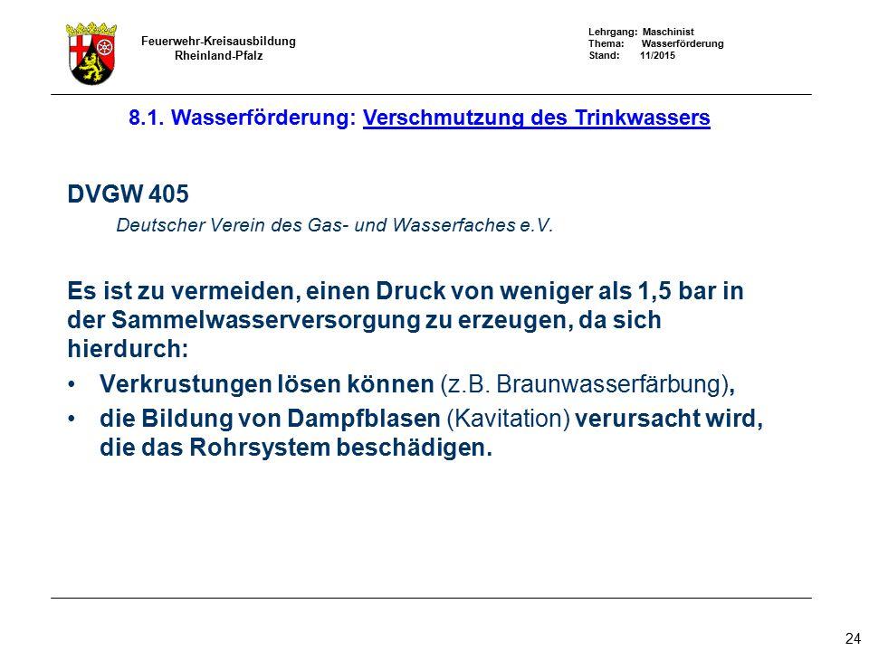 Lehrgang: Maschinist Thema: Wasserförderung Stand: 11/2015 Feuerwehr-Kreisausbildung Rheinland-Pfalz 24 DVGW 405 Deutscher Verein des Gas- und Wasserf