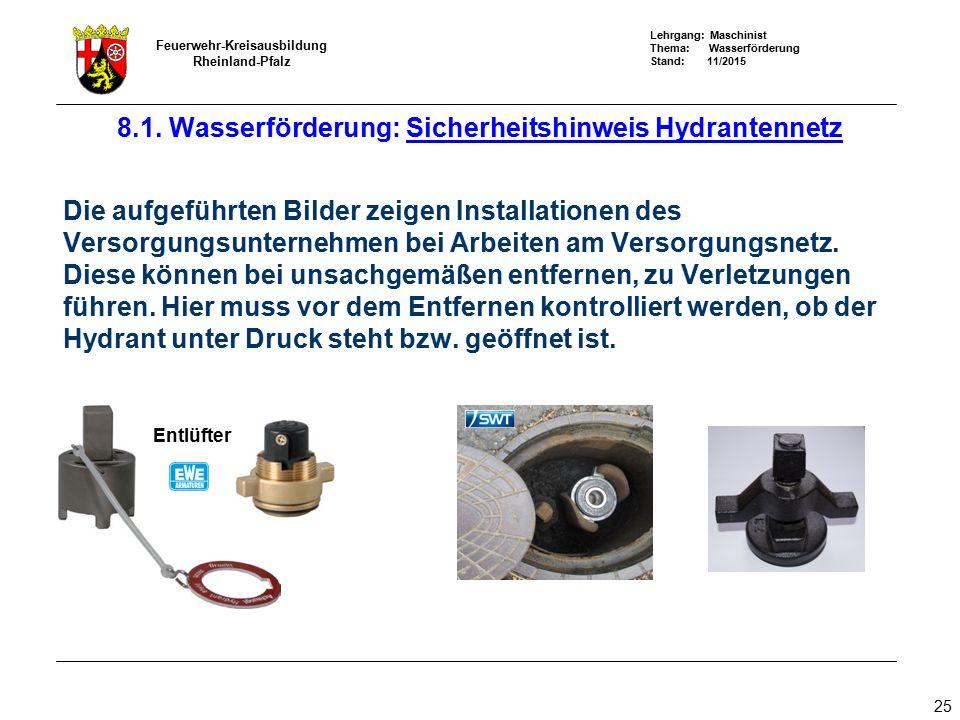 Lehrgang: Maschinist Thema: Wasserförderung Stand: 11/2015 Feuerwehr-Kreisausbildung Rheinland-Pfalz 25 Die aufgeführten Bilder zeigen Installationen
