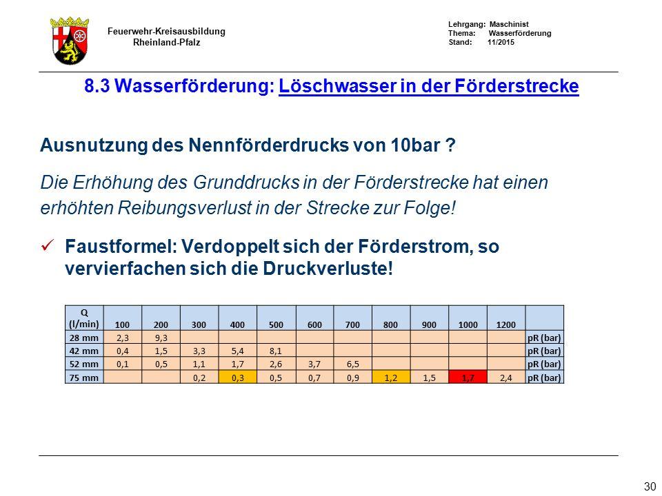 Lehrgang: Maschinist Thema: Wasserförderung Stand: 11/2015 Feuerwehr-Kreisausbildung Rheinland-Pfalz 30 Ausnutzung des Nennförderdrucks von 10bar ? Di