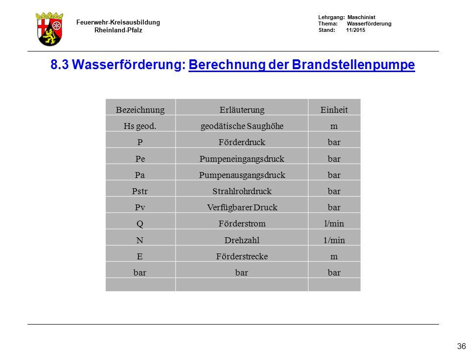 Lehrgang: Maschinist Thema: Wasserförderung Stand: 11/2015 Feuerwehr-Kreisausbildung Rheinland-Pfalz 36 8.3 Wasserförderung: Berechnung der Brandstell