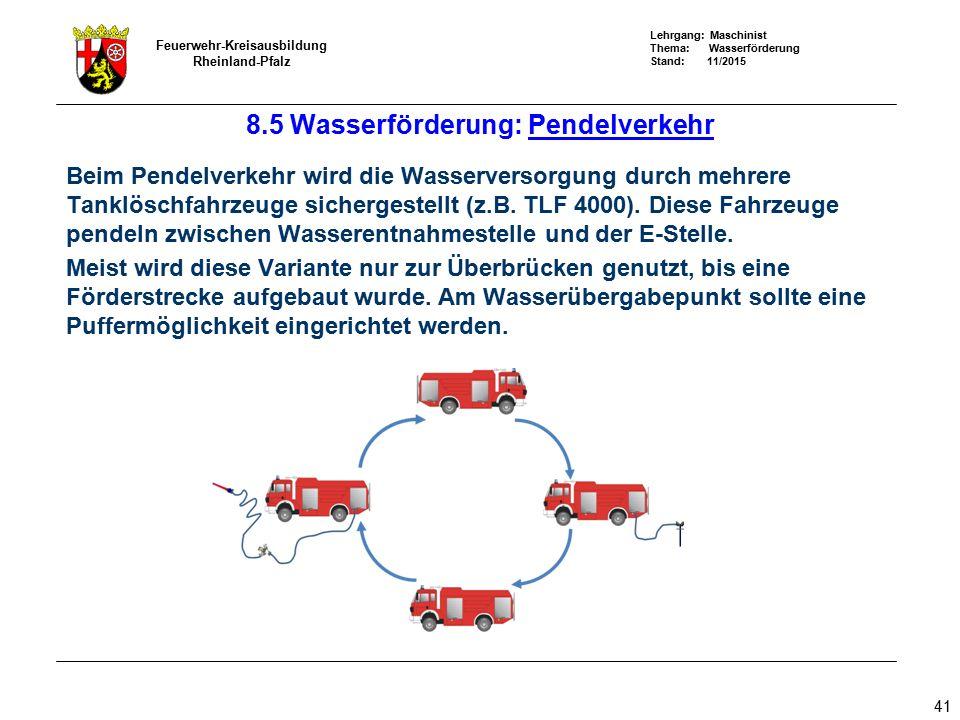 Lehrgang: Maschinist Thema: Wasserförderung Stand: 11/2015 Feuerwehr-Kreisausbildung Rheinland-Pfalz 41 8.5 Wasserförderung: Pendelverkehr Beim Pendel