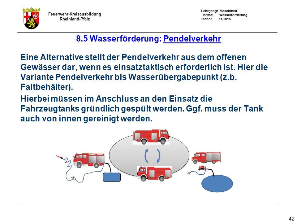 Lehrgang: Maschinist Thema: Wasserförderung Stand: 11/2015 Feuerwehr-Kreisausbildung Rheinland-Pfalz 42 8.5 Wasserförderung: Pendelverkehr Eine Altern
