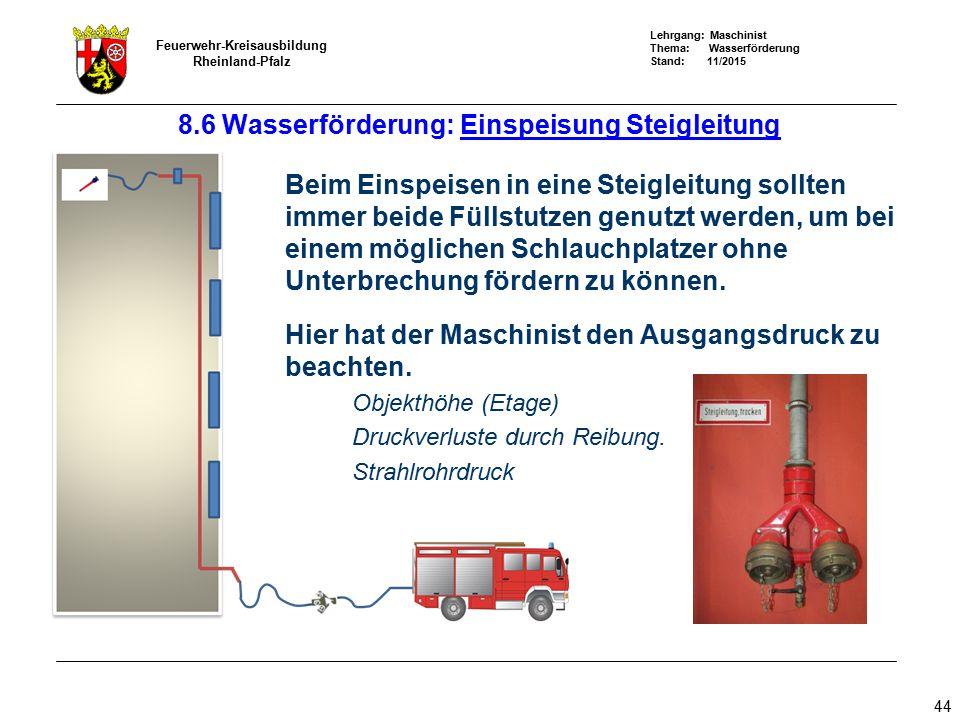 Lehrgang: Maschinist Thema: Wasserförderung Stand: 11/2015 Feuerwehr-Kreisausbildung Rheinland-Pfalz 44 Beim Einspeisen in eine Steigleitung sollten i
