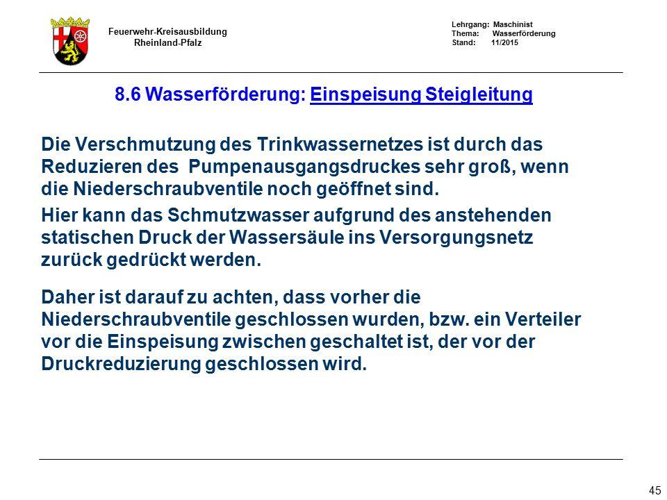 Lehrgang: Maschinist Thema: Wasserförderung Stand: 11/2015 Feuerwehr-Kreisausbildung Rheinland-Pfalz 45 Die Verschmutzung des Trinkwassernetzes ist du
