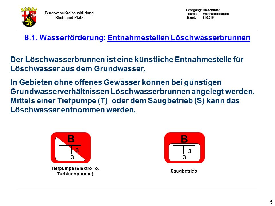 Lehrgang: Maschinist Thema: Wasserförderung Stand: 11/2015 Feuerwehr-Kreisausbildung Rheinland-Pfalz 5 8.1. Wasserförderung: Entnahmestellen Löschwass
