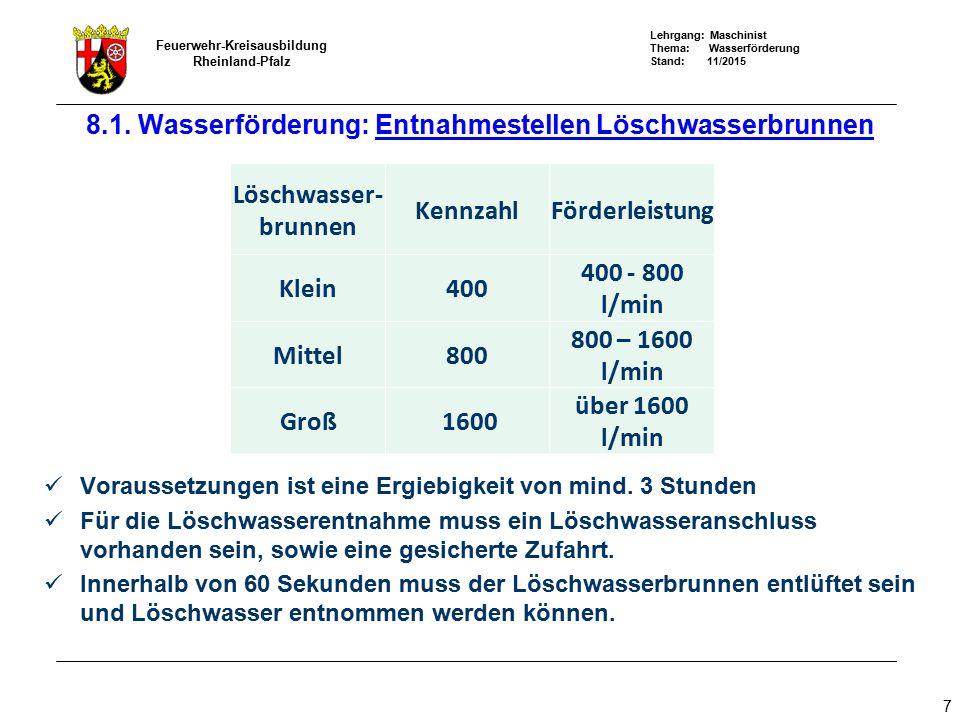 Lehrgang: Maschinist Thema: Wasserförderung Stand: 11/2015 Feuerwehr-Kreisausbildung Rheinland-Pfalz 38 8.4 Wasserförderung: Wasserförderung über lange Wege Streckenberechnung: FP 8/8 Förderstrom: 800 l/min Reibungsverluste B: 1,2 bar P a = 8 bar P e = 1,5 bar P a = 8 bar P e = 1,5 bar Pv = 6,5 bar ~540 m Pv = 6,5 bar - 3 bar Höhe ~290 m Pv = 6,5 bar - 3 bar Höhe ~290 m P e = 1,5 bar 30 m 60 m 1120 m
